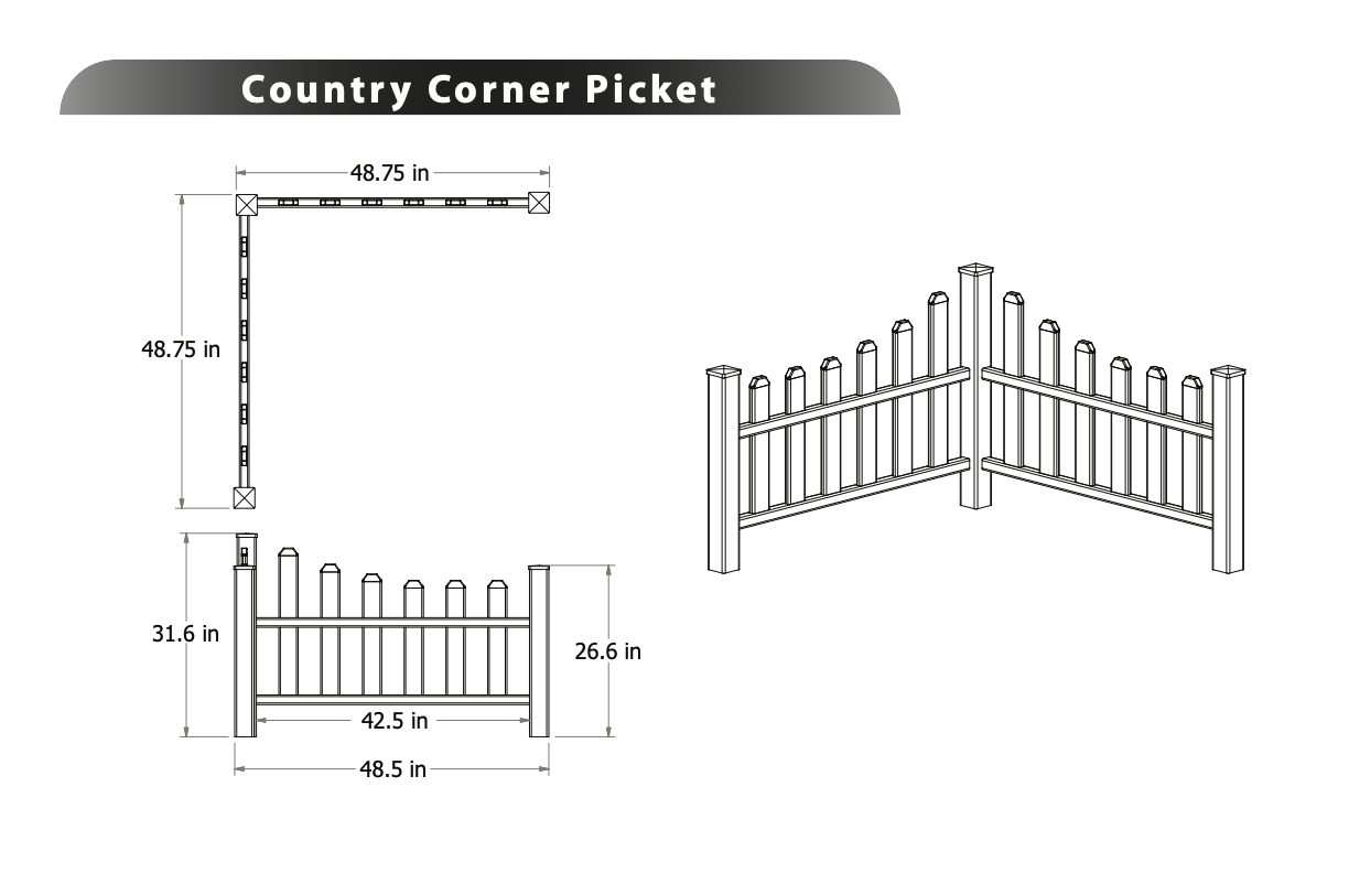Picket Corner Fence Image